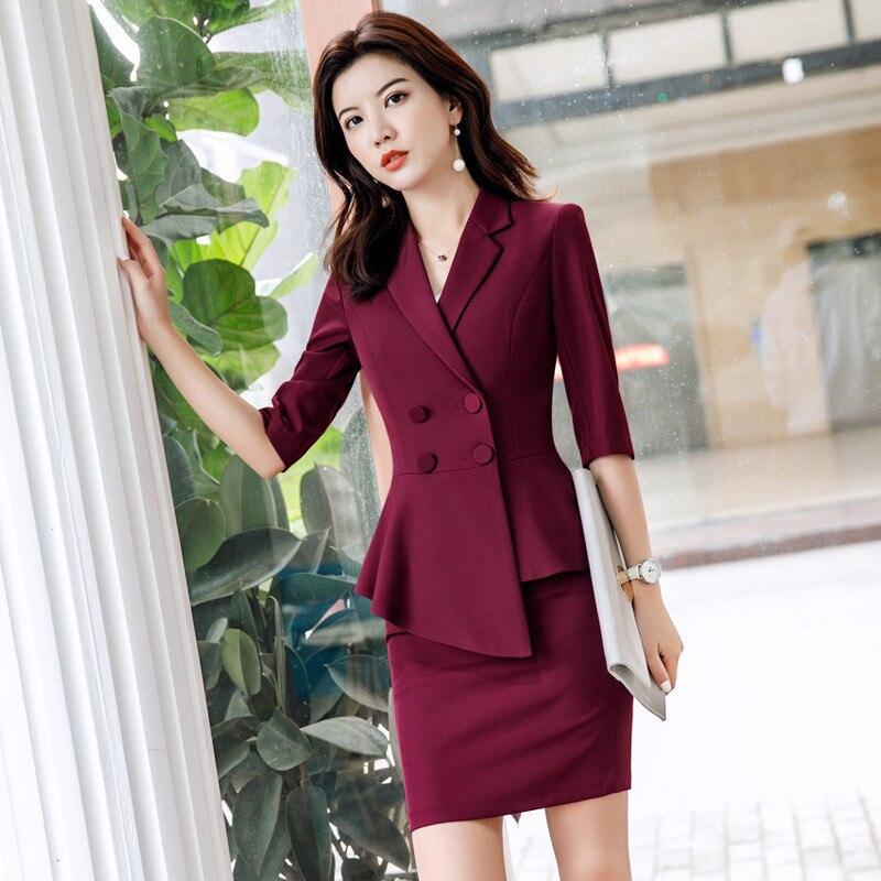 25.1 2,,55,Red Skirt suit 2 Pieces Set fashion business women suit office ladies work wear uniform Interview thin blazer hlaf sleeve top