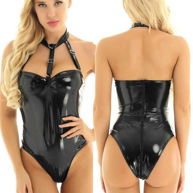 Erotic Sexy Latex Bodysuit Lingerie Backless Body Suit Sex Woman Bondage Bdsm Slave Sm Dress Zipper Sexi Faux Leather Catsuit
