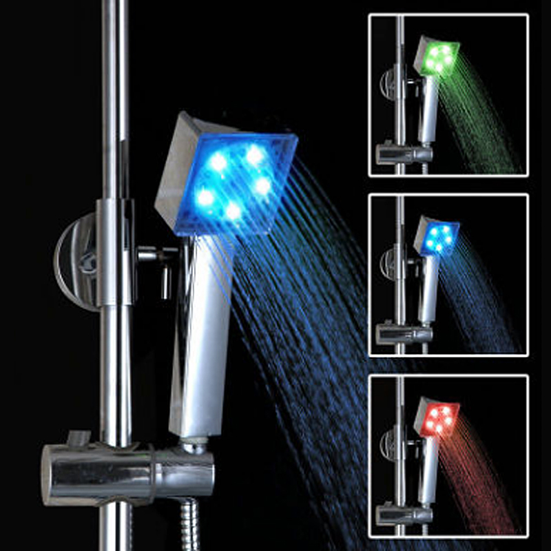 LED Rainfall 7 Color Bath Shower Heads No Battery Automatic Waterfall Shower High Pressure Water Saving Shower Head Bath Sets|  - title=