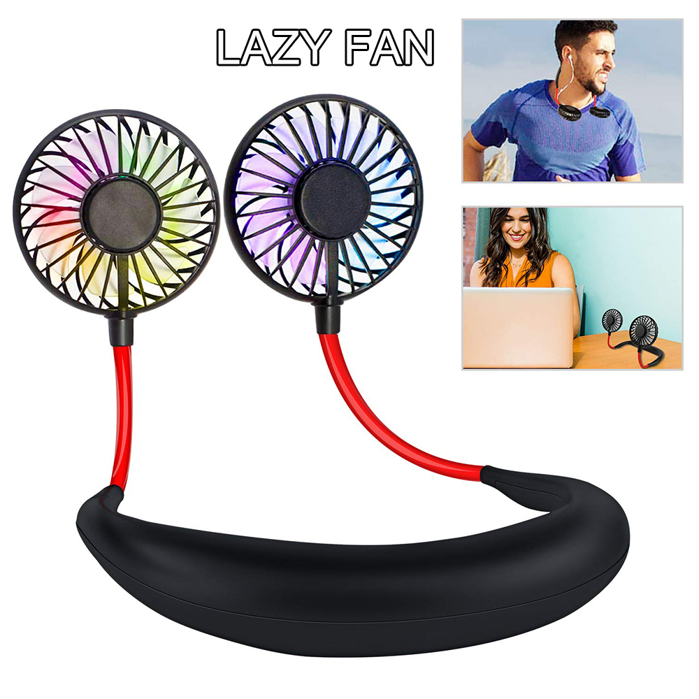 USB Mini Lazy Neck Fan Electric Hands-free Dual Cooler Fan Rechargeable Air Conditioner Neck Cooling Fans For Sports Outdoor