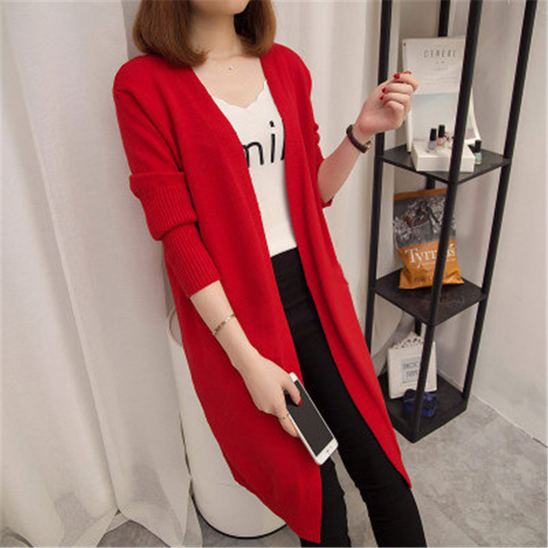 Casual Knitted Long Cardigan Female Loose Cardigan Knitted Long Sleeve Warm Winter Solid Sweater Women Cardigan Coat