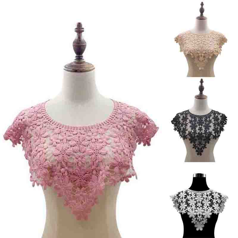 DIY Neckline Fake Collar Patches Lace Collar Hollow Corsage Neckline Fake Collar Shawl Vest Patches Embroidered Florla Patches
