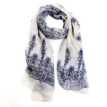 Primavera de las mujeres de moda de Otoño de color blanco cremoso suave grande largo bufanda Vintage impresión bufandas 150*70cm