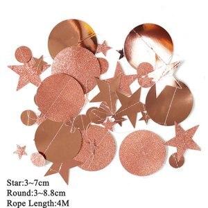 Image 3 - 4M נייר כוכב עגול גרלנד חתונת קישוט תינוק מקלחת יום הולדת Babyshower שלה ילד ילדה DIY תרנגולת רווקות ספקי צד