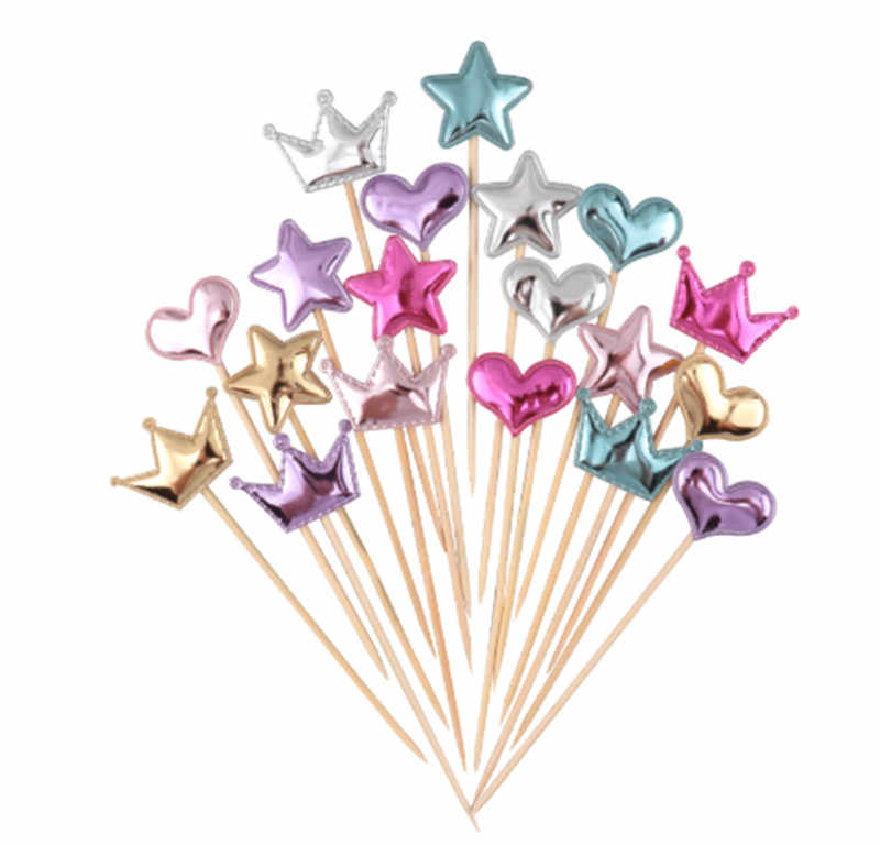 5pcs Lovely heart crown cake topper for birthday cupcake flag baby shower party wedding decoration supplies sent pampas gift
