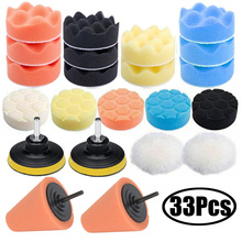 33Pcs Auto Schaum Bohrer Polieren Pad Kit für Auto Polierer + M10 Bohrer adapter 3 Zoll Wachsen Polieren Pads farbe korrektur Werkzeug Set