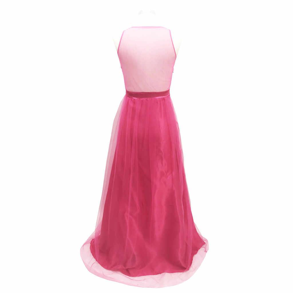 Backless Sexy della maglia delle donne del vestito rosso lungo elegante partito di promenade del halter senza maniche in pizzo ricamo vestito da partito di Alta cinghie in vita