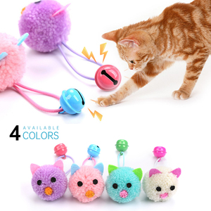 New Cat Toys Plush Mouse Head Shape Bells Self Hi Toys Funny Cat Colorful Plush Mouse Fun Pet Collars Pet Supplies Hot Sale