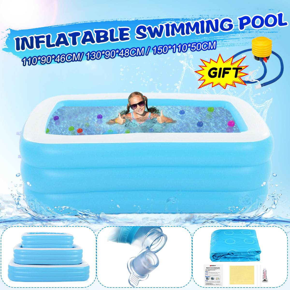 110/130/150cm PVC Cartoon Animal Square Children Swimming Pool Child Piscina Dry Pool Kids Inflatable Tank Outdoor Toy