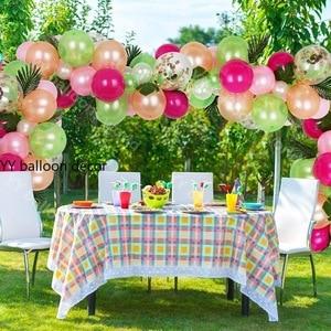 Image 2 - 81 個トロピカルパーティー風船アーチ花輪装飾キットホットピンクゴールド白風船のためハワイ誕生日結婚