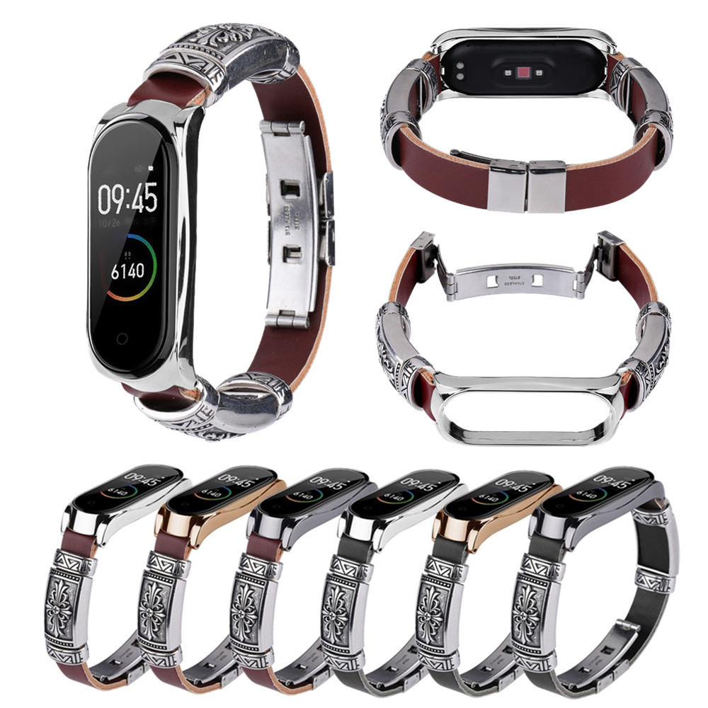 Wrist Strap For Xiaomi Mi Band 4 & Mi Band 3 Metal+Leather DIY Wristband For Mi Band 4 / Mi 3 Bracelet Smart Watch Accessories