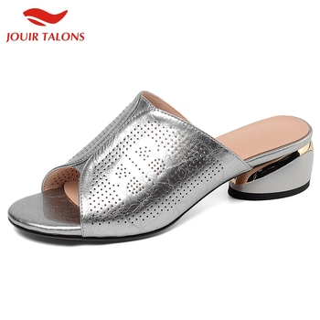 JOUIR TALONS In Stock Chunky Heels Genuine Leather Skin Summer Sandals Mules Woman Shoes Women Pumps