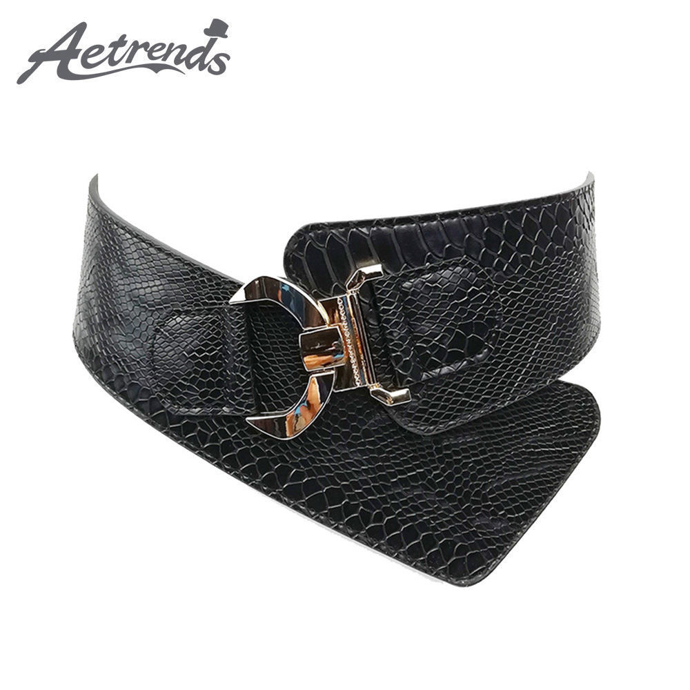 [AETRENDS] Women's Fashion Vintage Wide Waist Belt Elastic Stretch Steampunk Waistband With Interlock Buckle D-0136