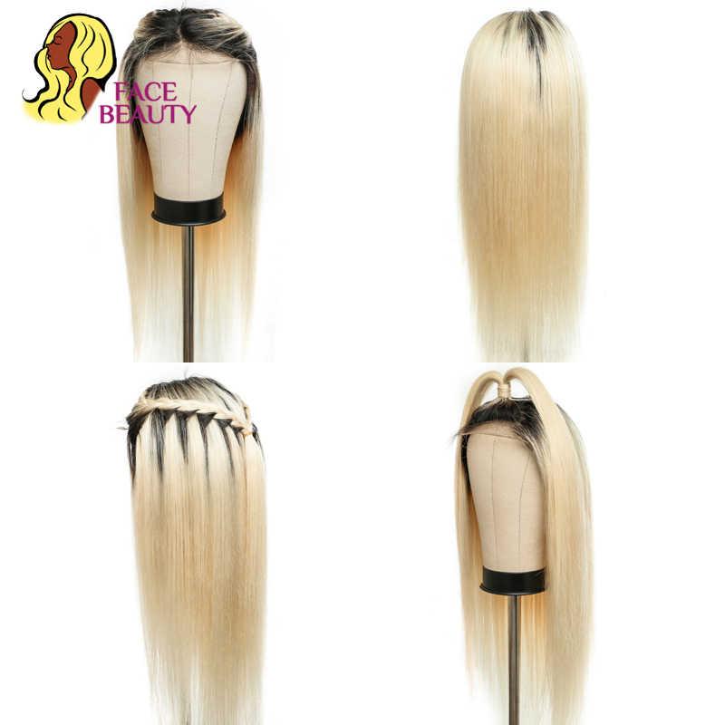 Facebeauty 1B 613 Nửa Bộ Tóc Giả 150 Mật Độ Trước Nhổ Peru Remy Ombre Tóc Vàng Ren Mặt Trước Thẳng Tóc Tóc Giả Với tóc Cho Bé