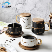Nordic Style Creative Marble Texture Ceramic Mug Gold Plated Handle Cup Wood Saucer Lid Coffee Cup Breakfast Milk Mug Crafts