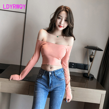 2019 autumn sexy short wooden ear long sleeve sexy word collar thin bottoming shirt T-shirt