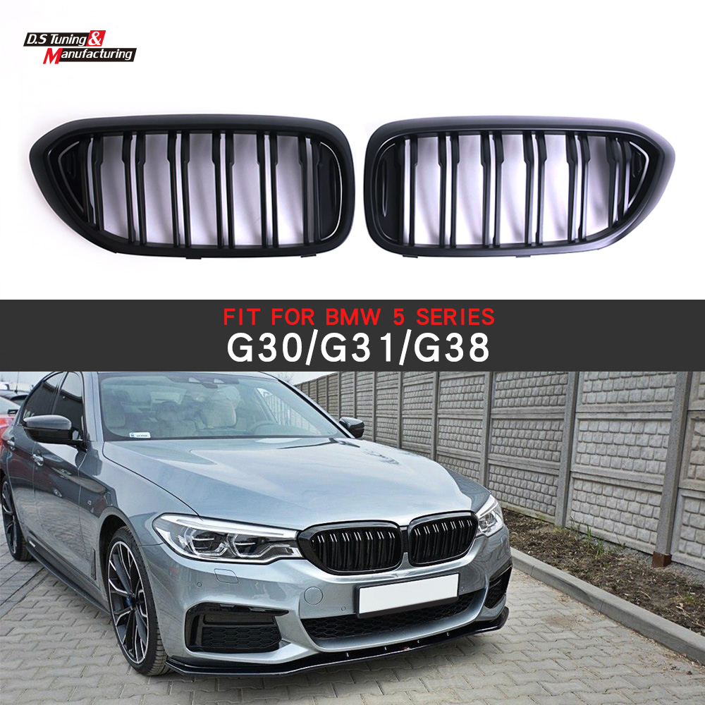 2-Slat ABS <font><b>G30</b></font> <font><b>Grill</b></font> Matte Black Plastic Front Racing Grille for BMW 5 Series G31 G38 image