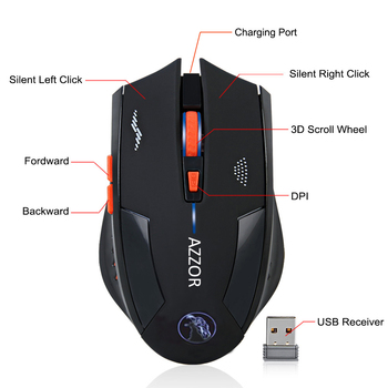 2400DPI Gaming Mice Wireless Mouse Rechargeable Slient Buttons Computer Mouse Built-in Lithium Battery 2.4G Optical Engine Mouse
