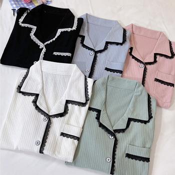 Toppies Spring Lace Spliced Cotton Pajamas Set for Women Sleepwear Long Sleeve Shirts and Pants