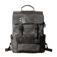 Vintage Canvas Travel Backpack Men Large Capacity Rucksack Laptop Bag Real Cow Leather Bagpack College Students School Bookbag