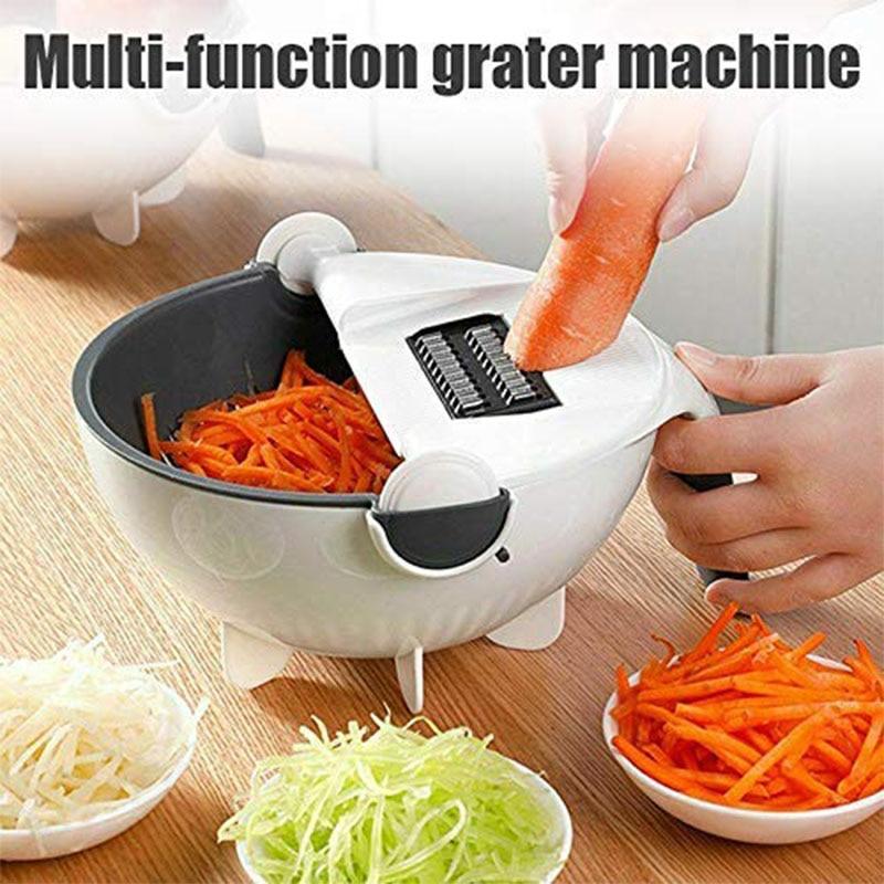 WALFOS Magic Multifunctional Rotate Vegetable Cutter With Drain Basket Kitchen Veggie Fruit Shredder Grater Slicer Drop Shipping 3