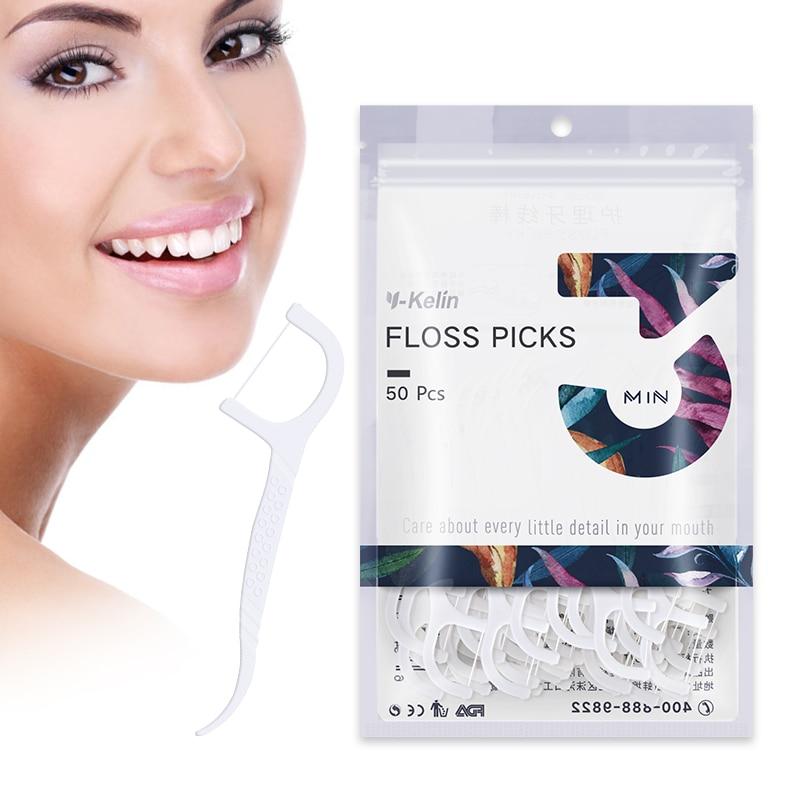 2018 New Arrival Y-Kelin Dental Floss Picks 50 Pcs Dental Flosser Toothpicks HMP Fiber Interdental Tooth Picks Interdental Brush
