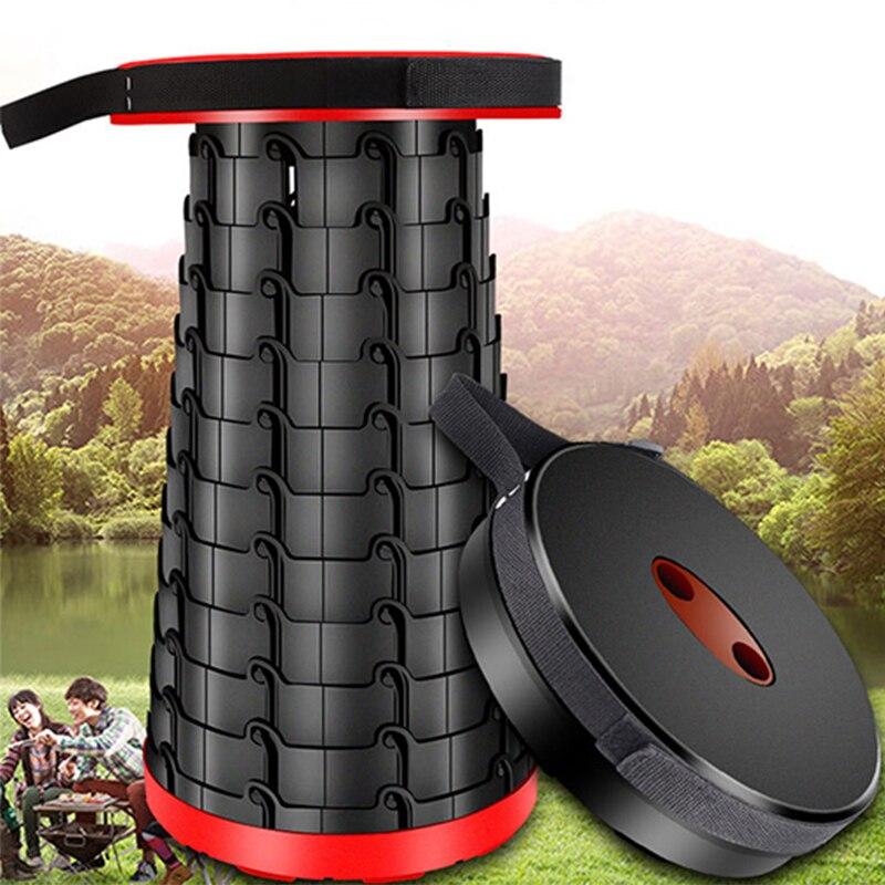 47*26CM taburete plegable portátil al aire libre Silla de viaje de plástico retráctil para barbacoa Camping taburetes para pesca