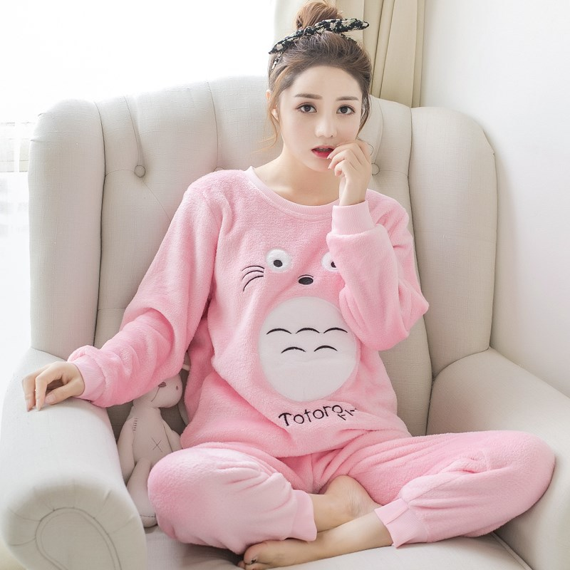 Korean Kawaii Pink Cartoon Pajama Set Winter Pajamas Fashion NightWear Leisure Home Cloth Flannel Warm Pyjamas Women Sleepwear