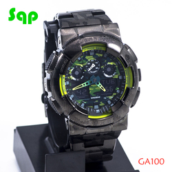 Neue Ankunft GA100 Edelstahl Schwarz Camouflage Uhr Set Armband Lünette/Fall Metall