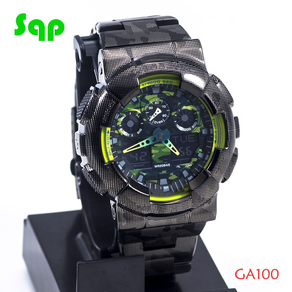 New Arrival GA100 Stainless Steel Black Camouflage Watch Set Watchband Bezel/Case Metal