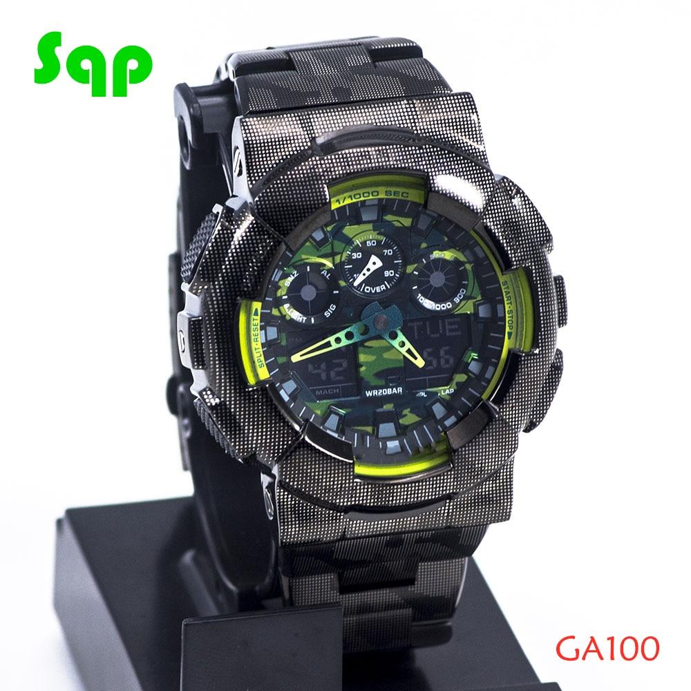 New Arrival GA100 Stainless Steel Black Camouflage Watch Set Watchband Bezel/Case Metal