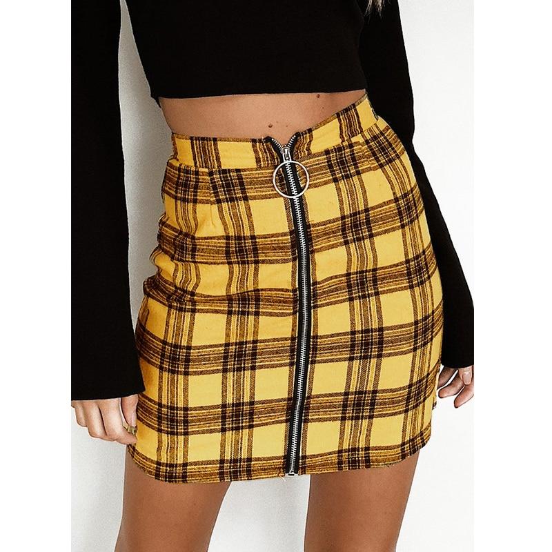 DeRuiLaDy New Women Skirt 2019 Fashion Sexy Womens Vintage High Waist Slim Zipper Plaid Skirts Elegant Ladies Mini Skirt