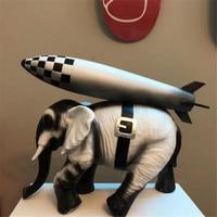 Elephants in War Modern Banksy Sculpture Art Polystone Elephant Back Rocket Incense Burner Home Decor Statue Action Figure Gift