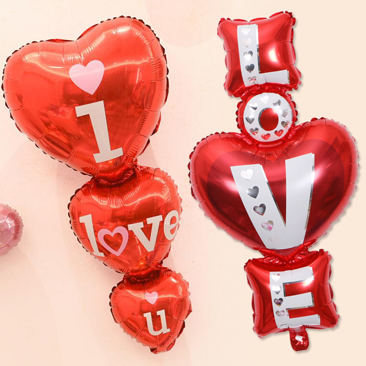 Proposal Balloon Heart to Heart Shape Marriage Valentine's Day Wedding Room Decoration and Arrangement Aluminum Foil Balloons