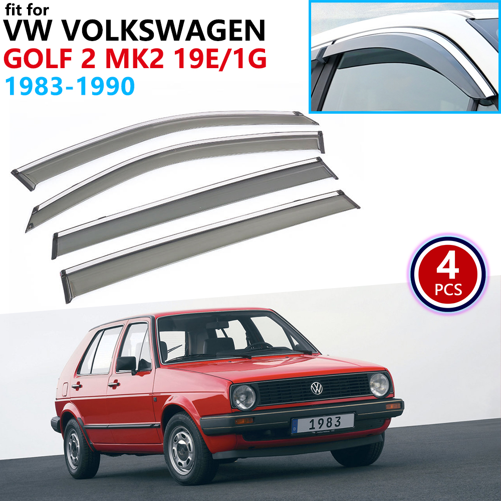 For VW Volkswagen Golf 2 MK2 19E 1G 1983~1990 Window Visor Vent Awnings Rain Guard Deflector Shelters Cover Car Accessories 1984