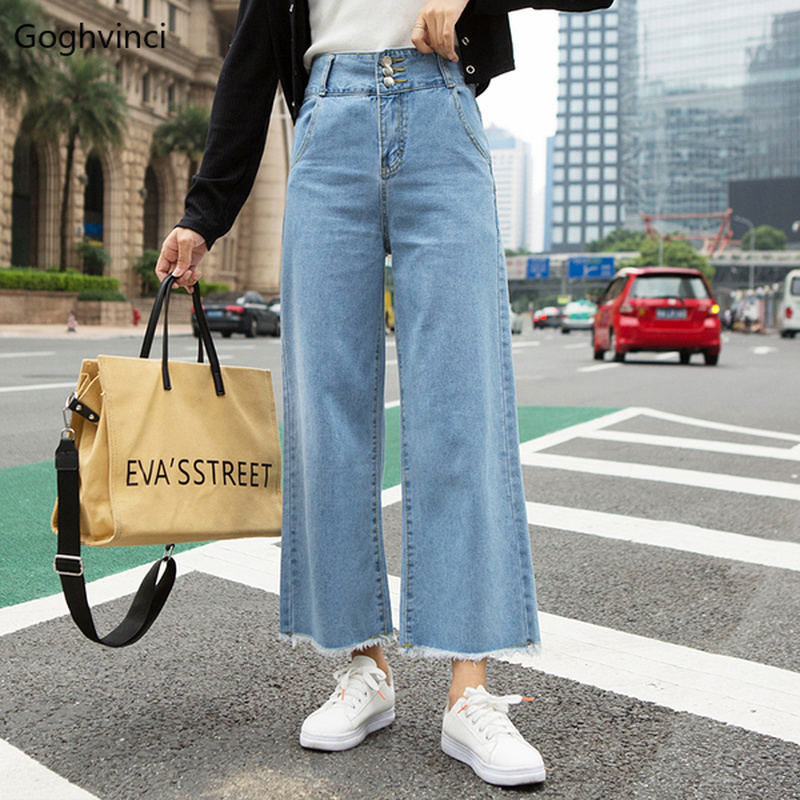 Jeans Women Loose Ankle-length High Waist Denim Womens Wide Leg Korean Fashion Females Hot Sale Comfortable Casual Students Chic