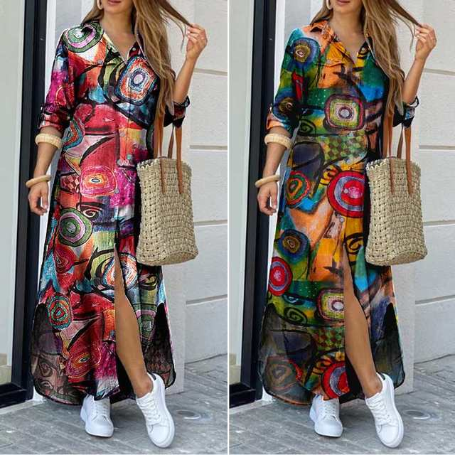 glamourous print dress, striking and fun  1