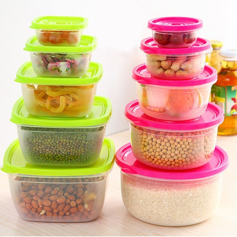 5 Pieces Sets Plastic Lunch Box Portable Bowl  Food Container Lunchbox Eco-Friendly Food  Storage Box Kitchen Seal Box