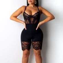 Helisopus 2019 Hollow Out Backless Sexy Lace Playsuit spaghetti Straps See Through Mesh Women Bodysuit Sleeveless Club Wear(China)