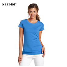 NEEDBO Women Tshirt Cotton High Quality Casual T Shirt Femme Sexy O-neck Short Sleeve Solid Summer Tshirts for 2019 Tops