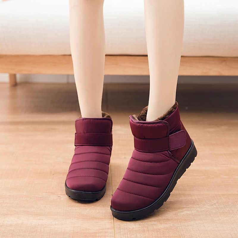 Büyük boy 43-46 peluş sıcak yarım çizmeler kadınlar için kanca döngü kaymaz kar botları kadın su geçirmez pamuklu bot kadın kış 2019