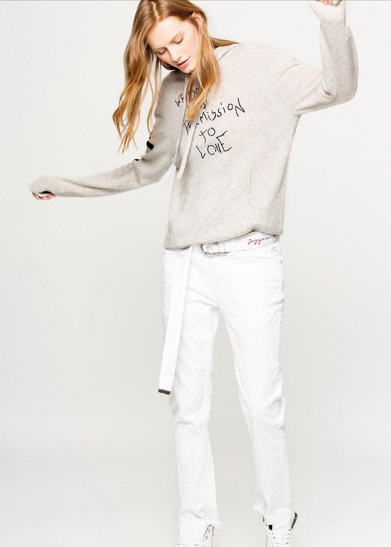 Kobiet nowa jesień zima z dzianiny bluza z kapturem szary list druku Graffiti w Bluzy z kapturem i bluzy od Odzież damska na  Grupa 1