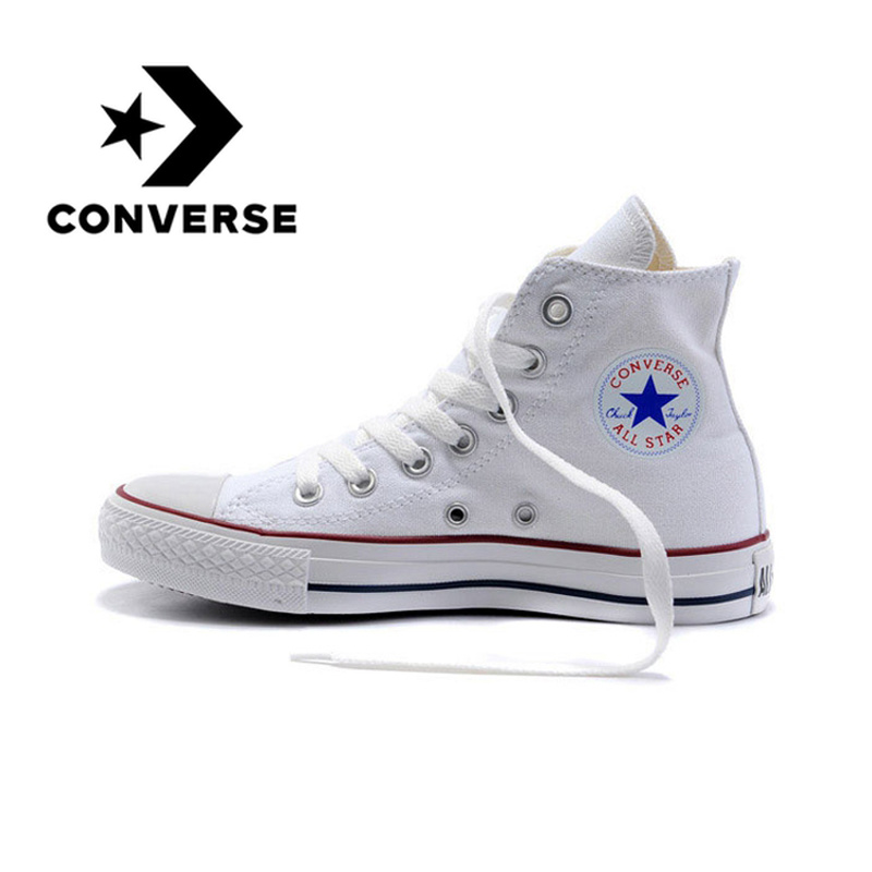 Original Authentic Converse ALL STAR Classic High-top Unisex Skateboarding Shoes Lace-up Durable Canvas Footwear White 101009