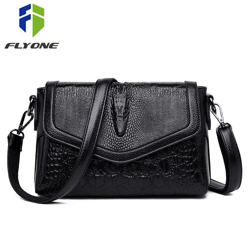 FLYONE 3D Crocodile Leather Handbag Women Messenger Bags Fashion Ladies Shoulder Bag Female Crossbody Bag Day Clutches Bolsa Sac