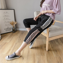 large size lady sports pants street casual harem pants 2020 new fashion thin loose Calf-length pants Elastic waist women pants cheap DONAMOL COTTON Polyester CK247 Patchwork Street Style Flat Pockets Spliced Broadcloth