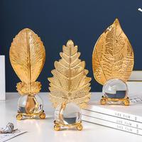 손으로 만든 장식 투명 크리스탈 공 공예 북유럽 황금 단 철 장식 홈 데스크탑 입구 장식      -