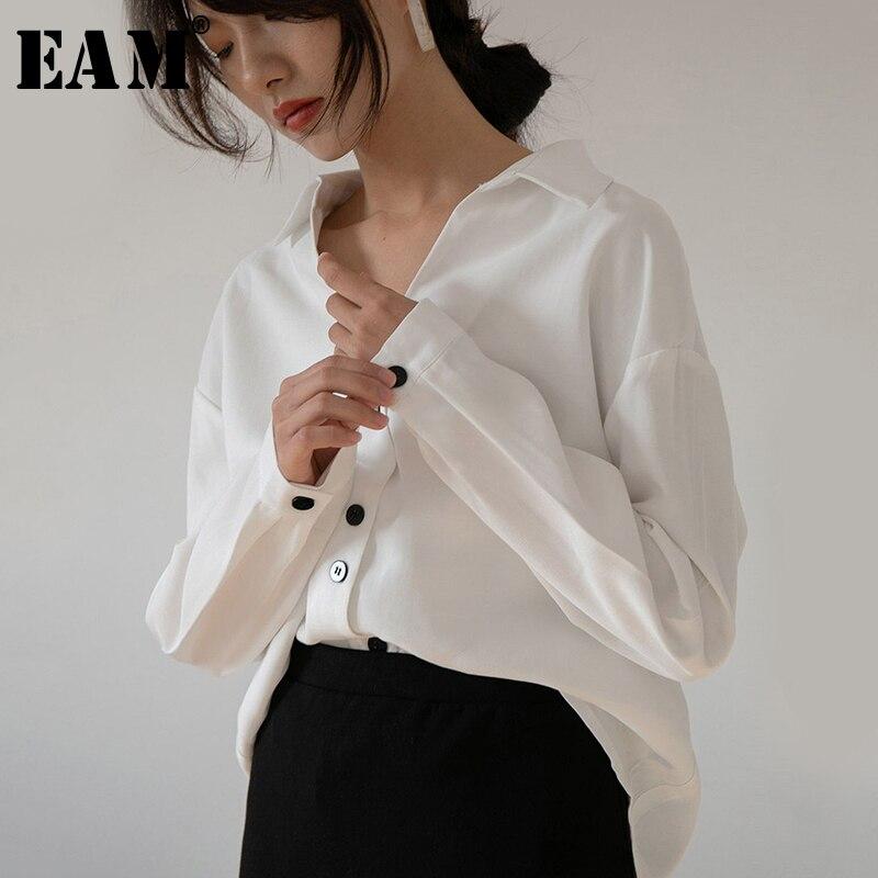 [EAM] Women White Button Split Temperament Blouse New V-collar Long Sleeve Loose Fit Shirt Fashion Tide Spring Autumn 2020 1S326