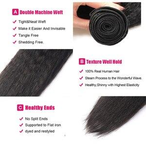 Image 5 - Ishow קינקי ישר חבילות עם סגירת יקי ישר שיער טבעי חבילות עם סגירה ברזילאי שיער Weave חבילות שאינו רמי