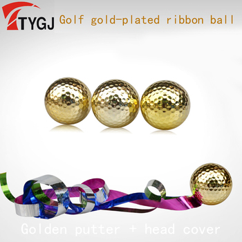 TTYGJ New Golf Single Layer (Exercise) 80-90 Ribbon Ball Special for Opening Ceremony Gift Gold Plated Ball Gold Course Kickoff image