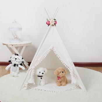 Białe płótno Pom Pom dla psów Teepee z mata tanie i dobre opinie Tkaniny Keep Away From Fire Namiot Dog Teepee